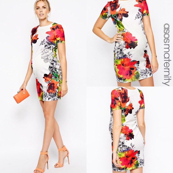 beebf778c1bd7 ASOS Maternity Dresses & Skirts - ASOS Maternity White Textured Floral Bodycon  Dress